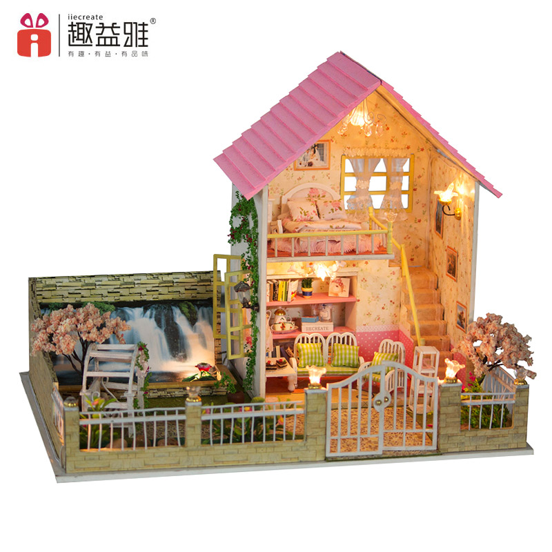 iiE CREATE Wooden Doll House DIY Creative Wooden Furniture Miniature Dollhouse toys Model Toys For Children Birthday Gifts