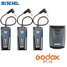 Godox gatilho de estúdio fotográfico, sem fio, RT 16 para canon nikon com receptor 3 x, conjunto para câmera canon e nikon