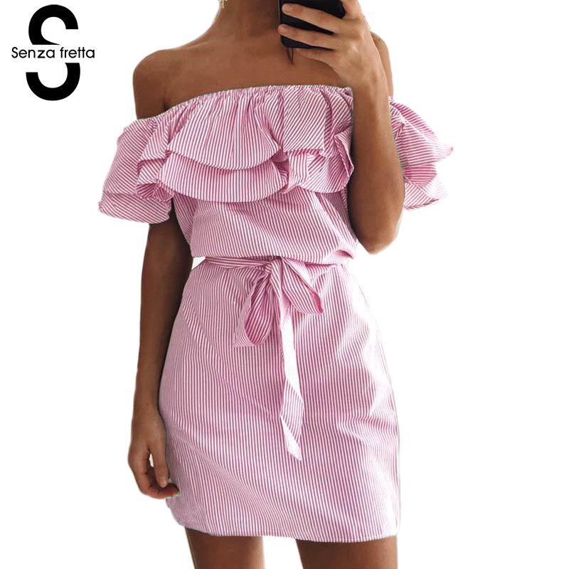 Off Shoulder Women Dress Women Elegant Ruffle Dress Slash Neck ...