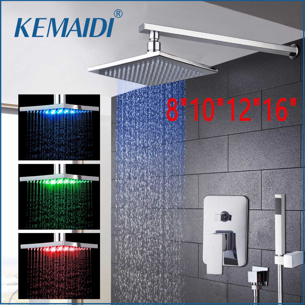 "KEMAIDI 8"" 10"" 12"" 16""New Bathroom LED Rainfall&Waterfall Bath Shower Panel Wall Mounted Message Shower Set With Hand Spray"