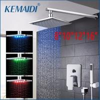 KEMAIDI 8 10 12 16New Bathroom LED Rainfall&Waterfall Bath Shower Panel Wall Mounted Message Shower Set With Hand Spray