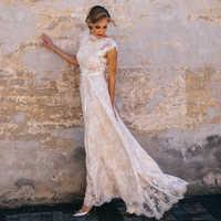 Vintage Champagner Spitze Bohemian Hochzeit Kleid A Line Cap Sleeve Sexy Backless Brautkleid Vestidos de Novia 2019