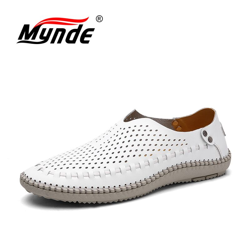 MYNDE Brand Summer Causal Shoes Men Loafers Genuine Leather Moccasins Men Driving Shoes High Quality Flats For Man Shoes 2015 new fashion british martin causal genuine leather men shoes brand camel men shoes real leather men flats casual shoes man