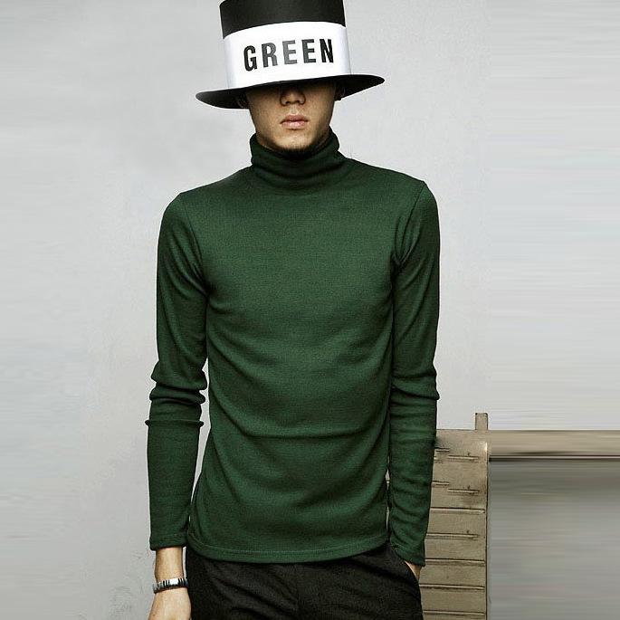Autumn Winter Men's High Collar Sweater Casual Mens Cotton Turtleneck Solid Color Long Sleeve Pullover Slim Warm Knitted Sweater