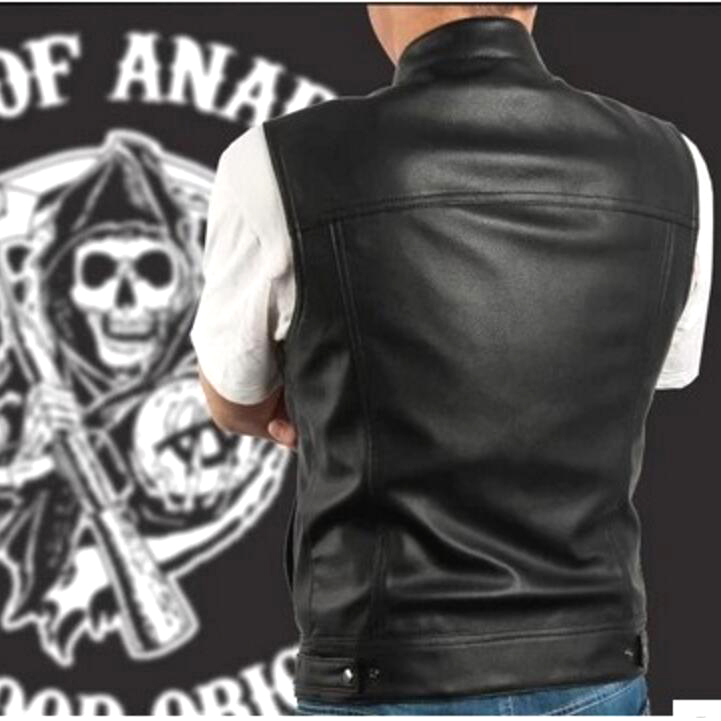 Sons Of Anarchy Black Color Harley Motorcycle Vest Jacket
