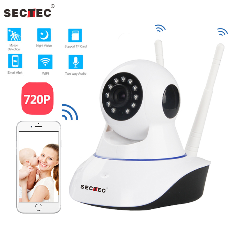 SECTEC 720P Wireless IP Camera Home Security Surveillance Network CCTV Camera WIFI Cam Night Vision Two way Audio Baby Monitor zilnk 960p 2 way audio pan tilt wireless ip camera wifi home security cctv surveillance baby monitor night vision onvif white
