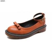 Women Fashion Bowtie Vintage Platform Casual Shoes Woman Low Heels Ankle Strap Plus Size Round Toe
