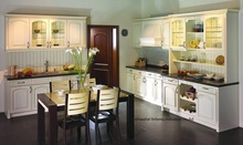 PVC/vinyl kitchen cabinet(LH-PV057) solid wood curved shape kitchen cabinet lh sw089