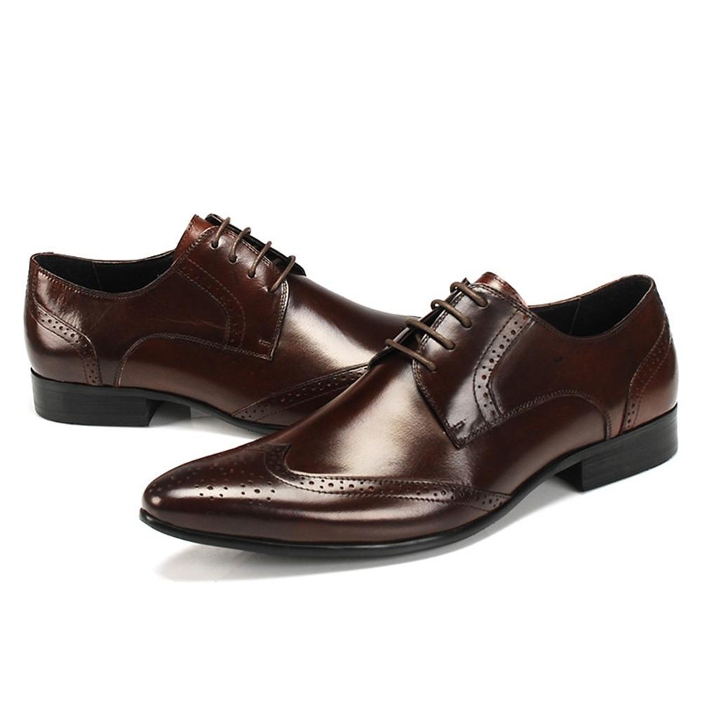 En Noir Taille Brun Sipriks 37 Chaussures Haute Hommes Pointe Bureau Richelieu Messieurs marron Qualité 45 Formelle Pour Cuir Patron Véritable D'affaires I4q1p