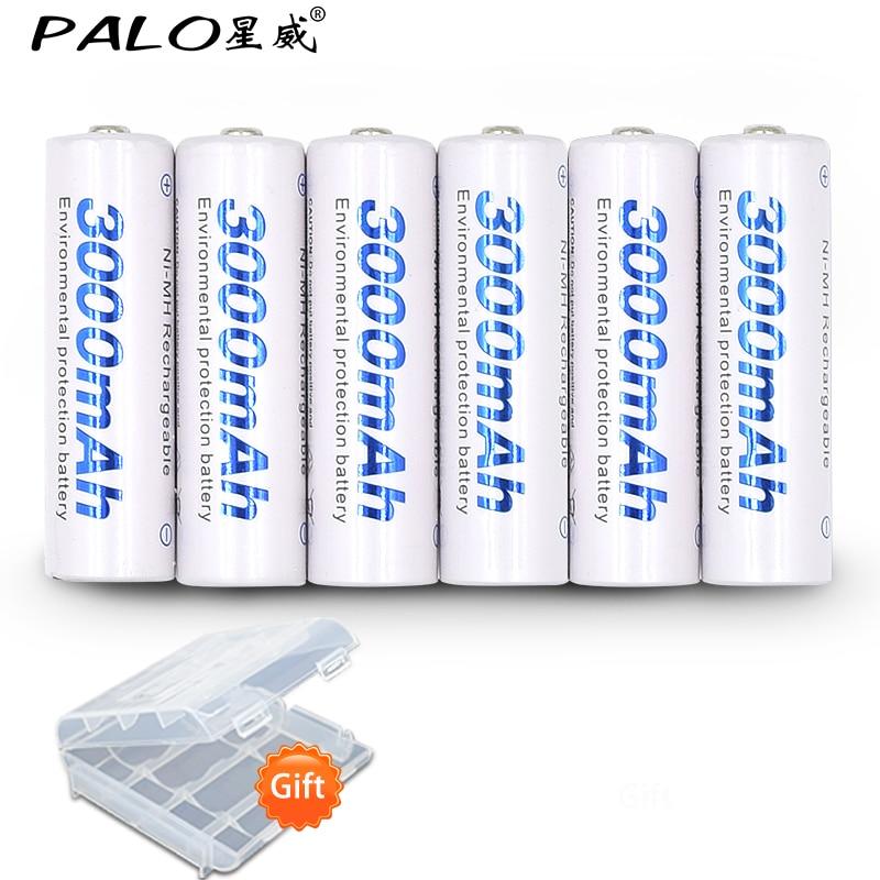 6 stücke 2a AA Batterie Batterien 1,2 V AA 3000 mAh Ni-Mh vorgeladenen Akku 2A Baterias für kamera, uhr und Rasiermesser