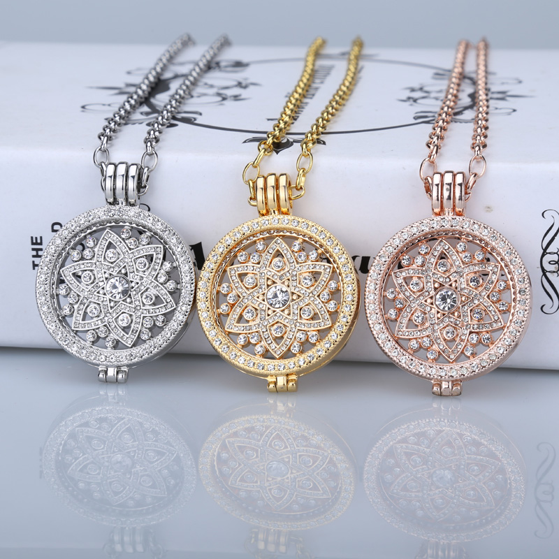 Deluxe 35mm Coin Necklace Pendants Fit Disc 33mm Coins Holder Woman Girl Decorative Fashion Jewelry Crystal 2017 Rose Gold