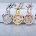 Deluxe 35mm coin pingentes colar fit disco 33mm titular moedas menina mulher moda jóias medalhão de cristal decorativo rosa ouro