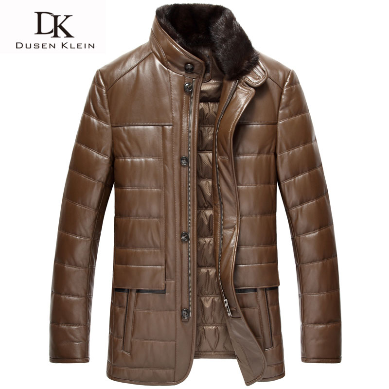 Dusen Klein Leather Down jackets High quality Genuine leather Nature Sheepskin male Winter coats 13N1351
