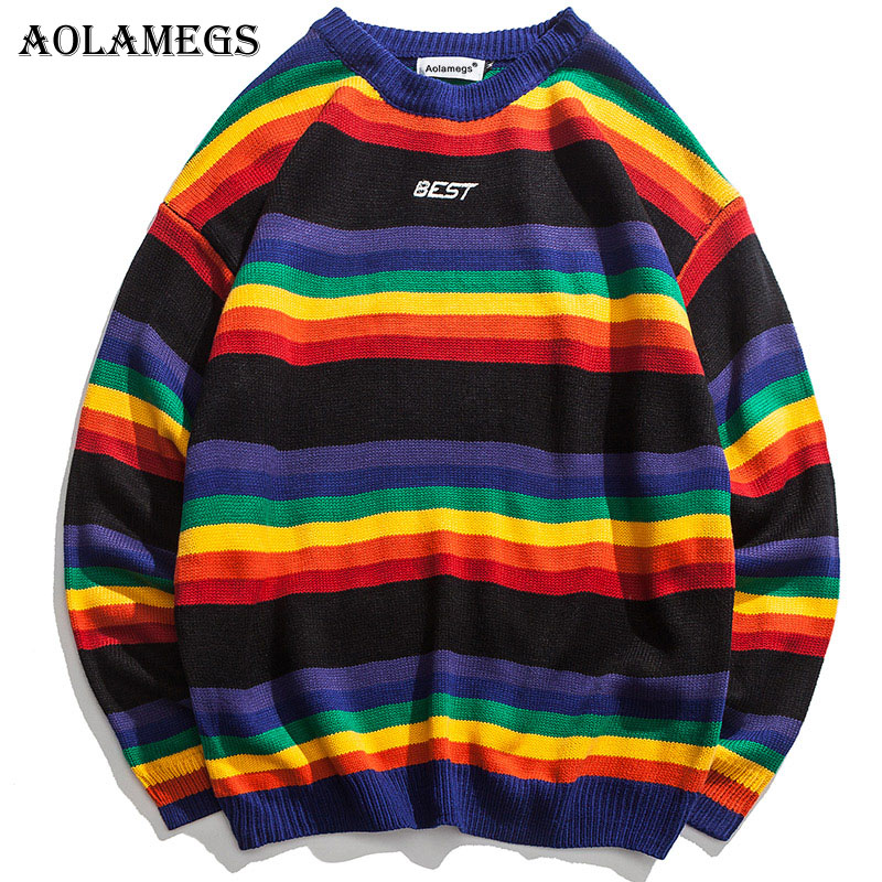 Aolamegs Sweater Men Rainbow Striped Hit Color Mens Pullover Loose High Street Sweaters Fashion Knitted Male Sweater Streetwear