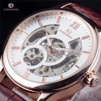 FORSINING Hollow Design Leather Skeleton Watch Man Male Sport Clock Business Automatic Mechanical Fashion Wrist Luxury