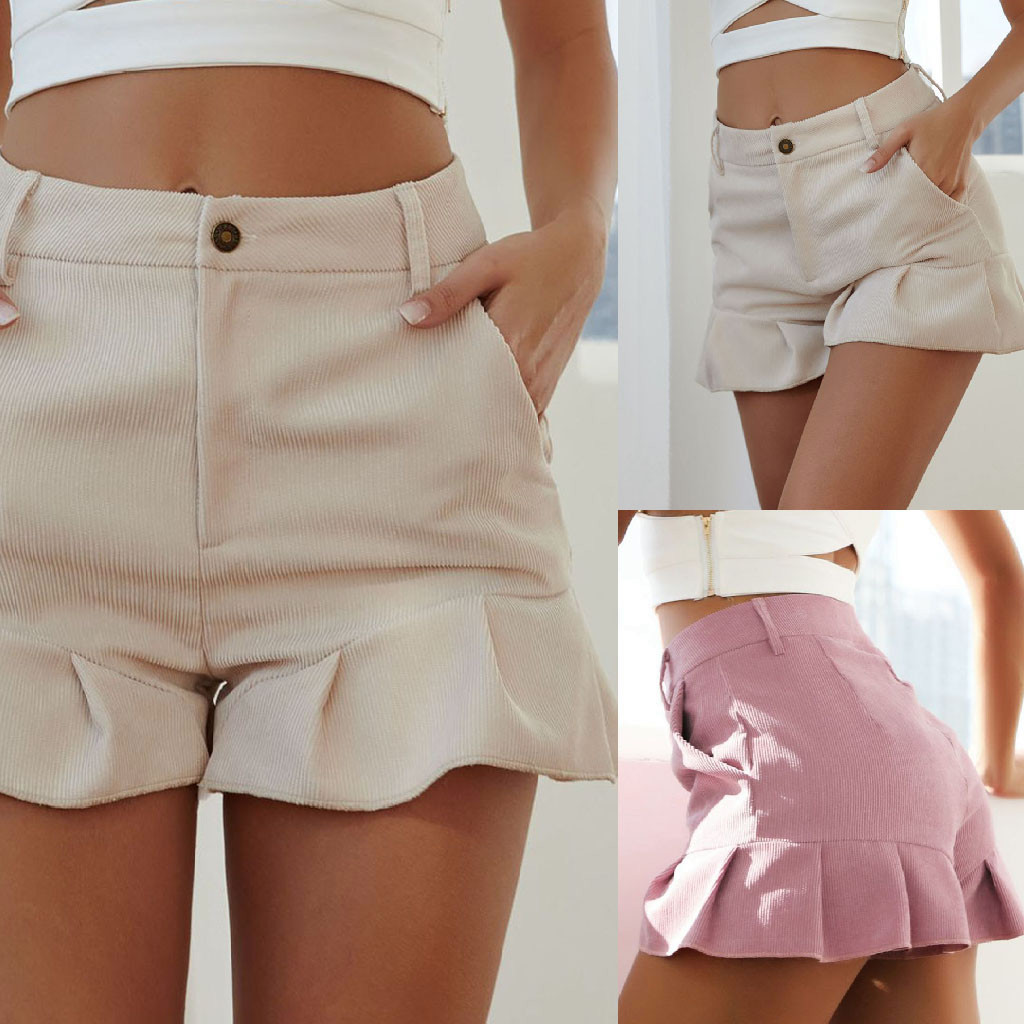 2019  Shorts Women Femme Ladies New Fashion Summer  Casual  Solid Loose Ruffle Shorts