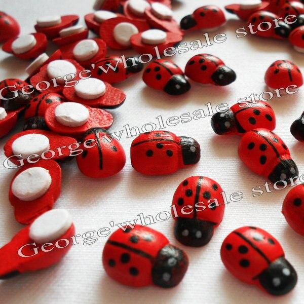 500PCS/LOT,Wood ladybug stickers,Easter crafts,Spring decoration.Home decals,Garden decor.Kids toys.Kindergarten games.Mini