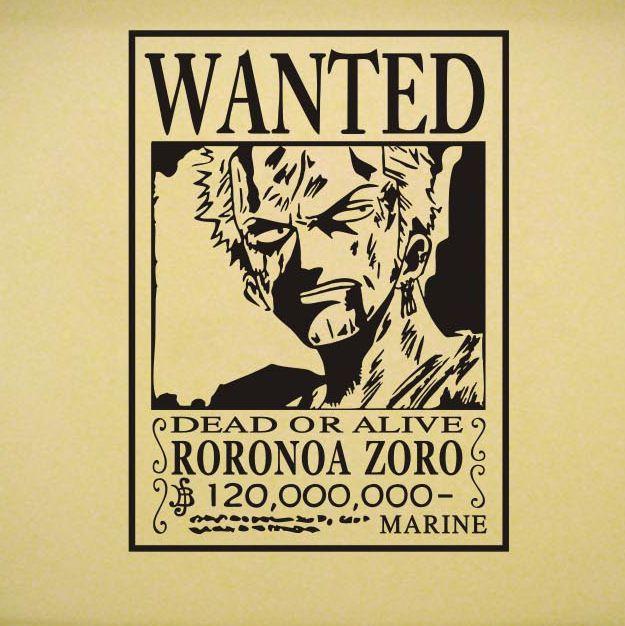 japanese anime cartoon vinyl wall decal one piece wanted roronoa