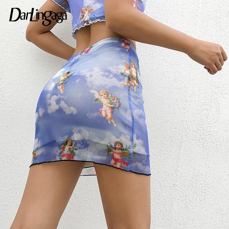 Darlingaga Sweet Cupid Print Angel Mesh Skirt Women Fashion Aesthetic Summer Skirt 2019 Mini High Waist Skirts Bottom Jupe Femme
