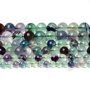 Factory price Natural Stone Colorful Fluorite Round Loose Beads 16