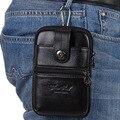 Celular Saco da Cintura Dos Homens de Couro genuíno/Caixa Do Telefone Móvel bolsa de Moedas Marca Famosa Pequeno Gancho Masculino Fanny Cinto bolso Hip Bum Pack