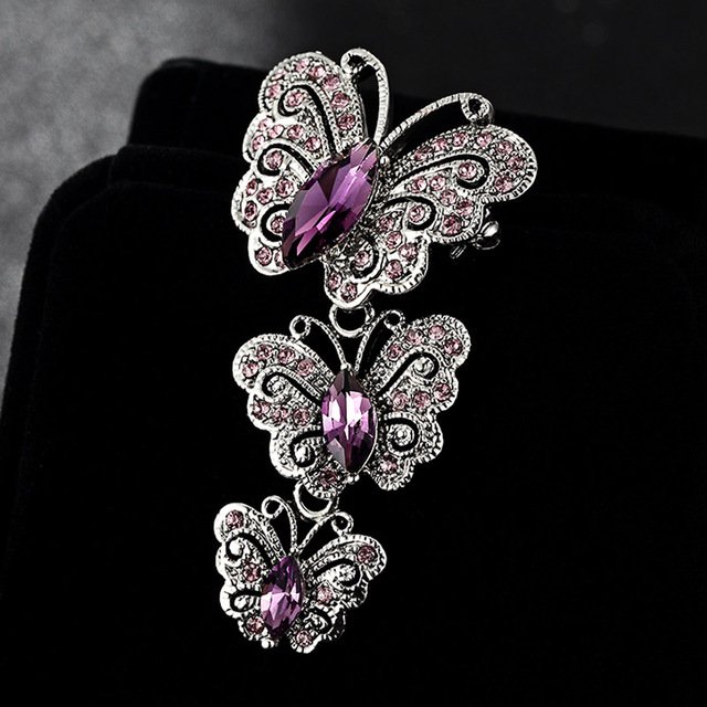 Big Brand Fashion Korean Jewelry Antique Silver Vintage Butterfly Brooches  Shiny Noble Austrian Crystal Broches Femininos Bijoux 05fc925746c4