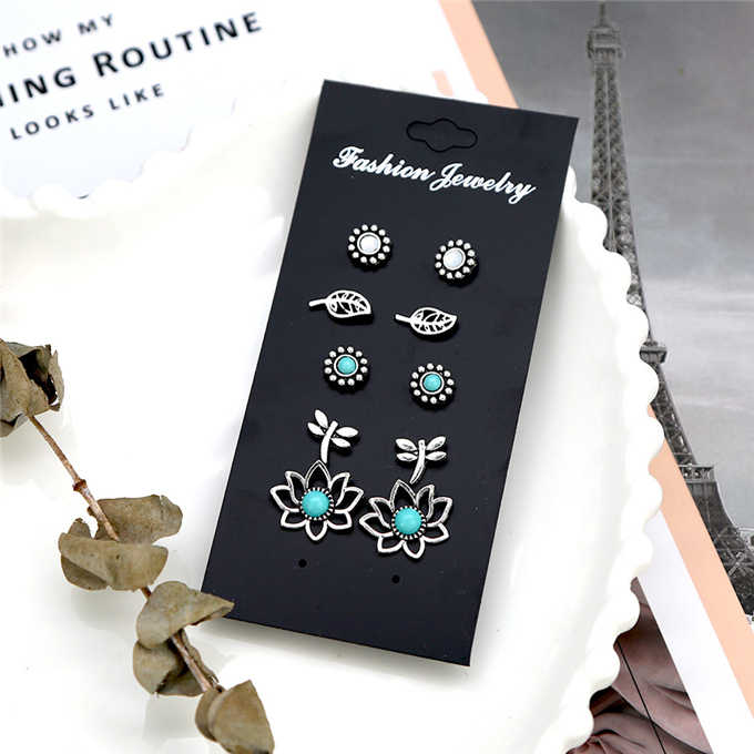 5 pairs /set New fashion women accessorize girls birthday party earrings beautiful mix-and-match earrings gift