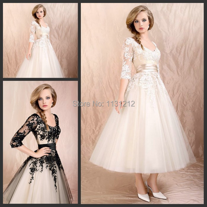 Simple Ankle Length Lace Wedding Dresses White Three: The Popular Wedding Dress Short Three Quarter Sleeve Ankle