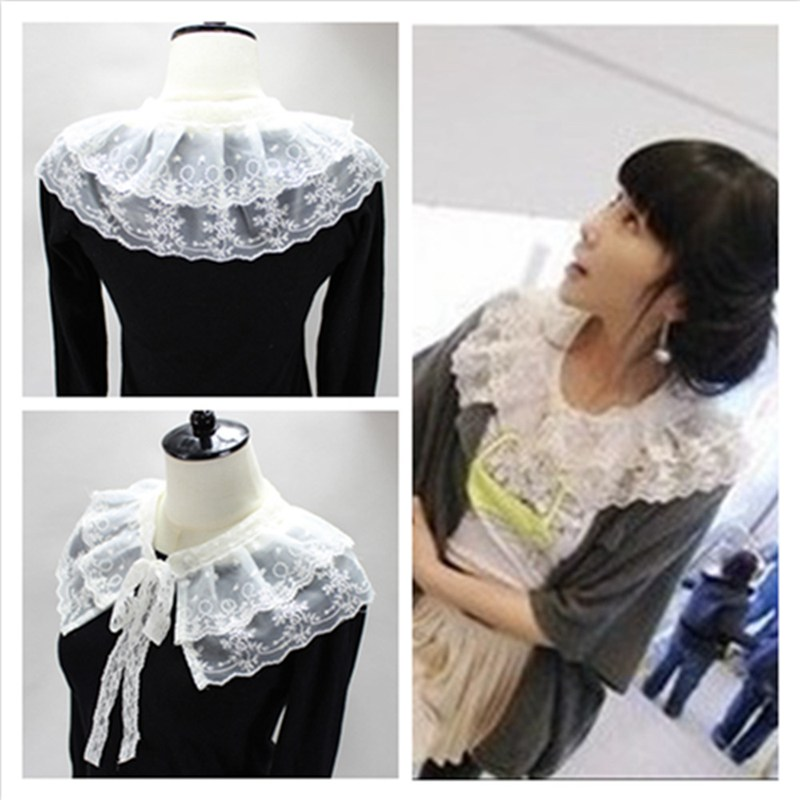 1pcs Women Double Layer Lace False Collar Shawl Bow Collar Detachable Shirt Clothing Accessories BBB0579