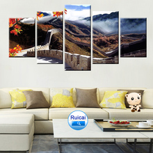 Chinese historic architecture, great wall, wonders, posters, canvas painting, 5 panels, HD, living room, bedroom murals the architecture of historic hungary