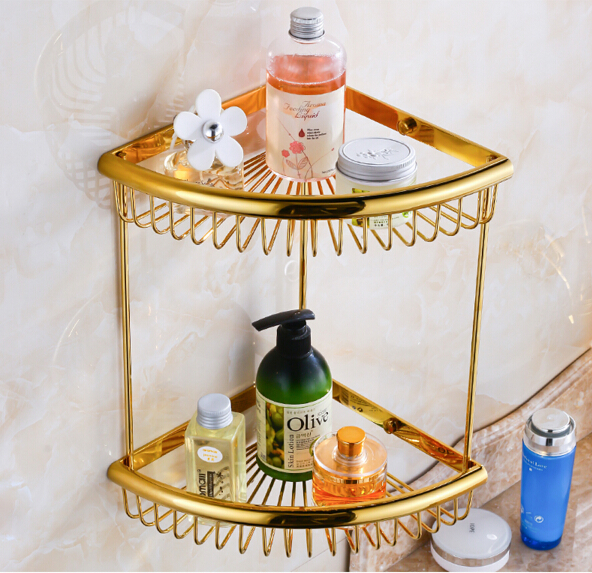 ФОТО Top quality brass gold double tiers bathroom Corner shelves with robe hook basket holder bathroom soap holder bath shampoo shelf