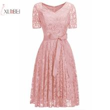 Женское коктейльное платье Розовое Кружевное короткое с v образным