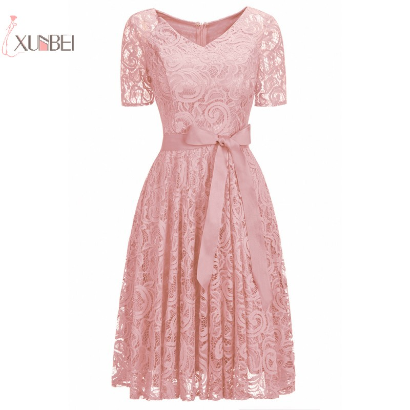 2019 Sexy Pink Lace Short Robe Cocktail Dresses V Neck Short Sleeve Party Gown In Stock