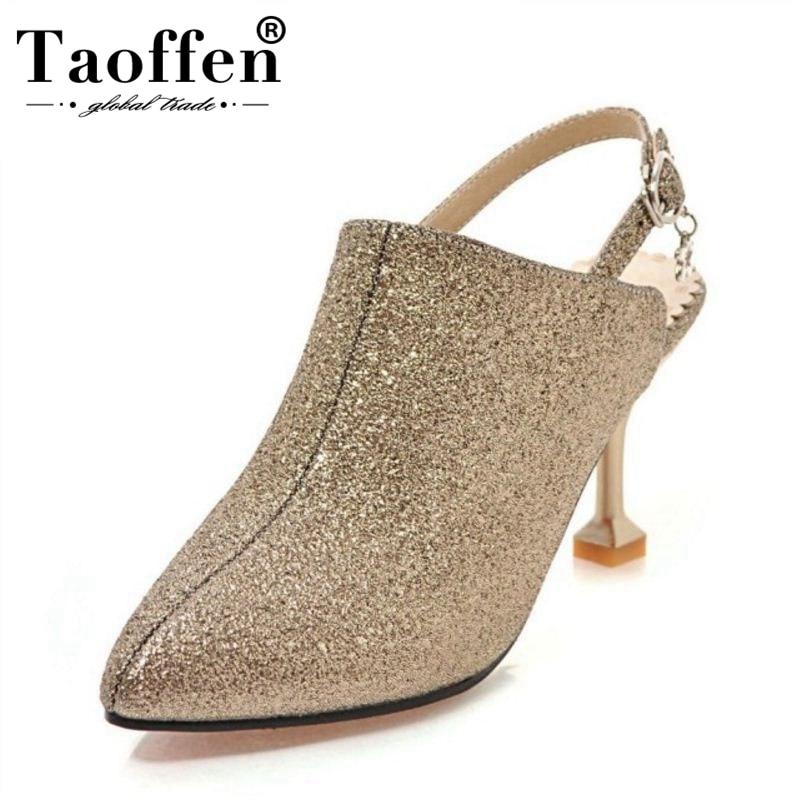 TAOFFEN Ladies Sandals Women Shoes Bling High-Heel Buckle-Strange-Heel Party-Footwear