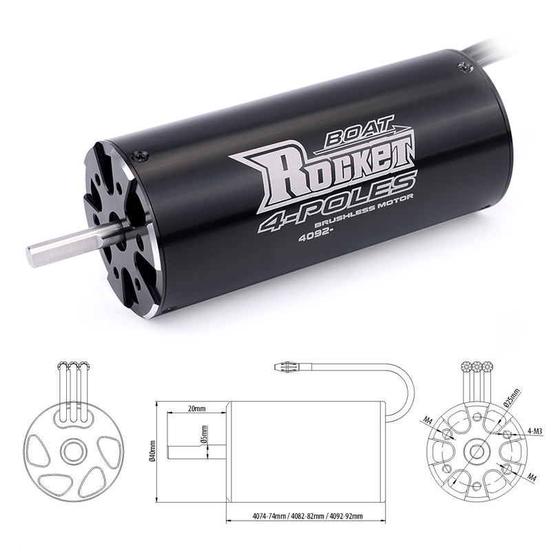 Image 3 - SURPASSHOBBY Rocket 4092 1520KV 1250KV 4P Brushless Motor for Traxxas M41 Catamaran Spartan 1000mm(or Above) RC Boat Car-in Parts & Accessories from Toys & Hobbies