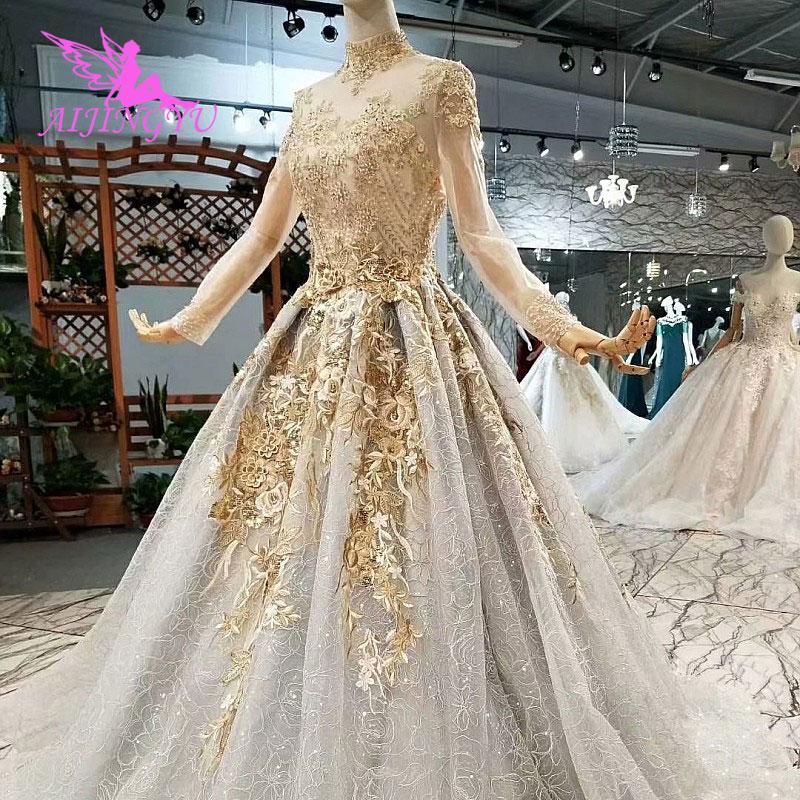 AIJINGYU Weddingdress courte longue Train robes Discount grande taille 2018 étonnement Simple robe de mariée robe singapour