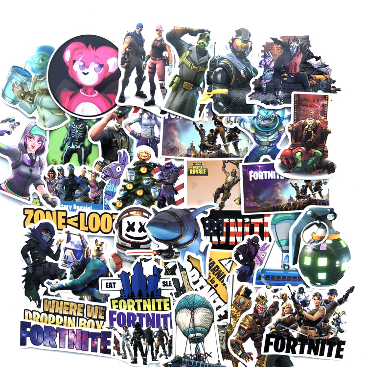 140pcs/lot Fortnight Stickers Fortinet Figure Characters Mixture Waterproof Decals Sticker Diy Fortnited Battle Royale Toys
