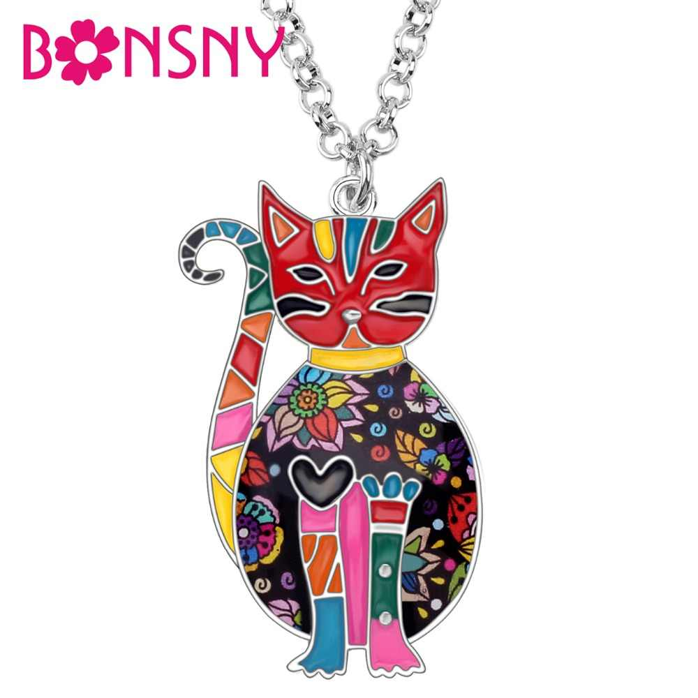 Bonsny Enamel Alloy Floral Kitten Cat Choker Necklace Chain Pendant Fashion Jewelry For Women Girl Ladies Accessories Teens Gift