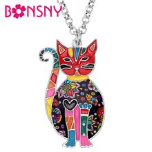 Bonsny Enamel Alloy Floral Kitten Cat Choker Necklace Chain Pendant Fashion Jewelry For Women Girl Ladies Accessories Teens Gift(China)