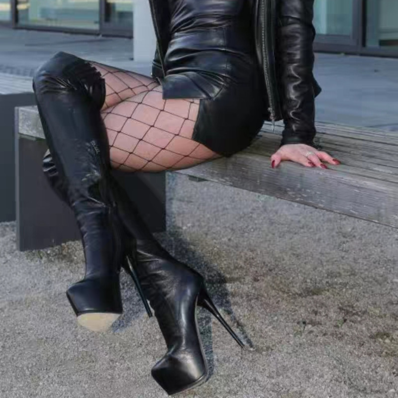 Lunghi Sexy As Piattaforma In Pelle Inverno Stivali Di Al Chaussures Alta Motociclo Tacco Lungo Botas Nero Del Coscia Alto Picture Della Il Sopra Femme Ginocchio 68gU0Z