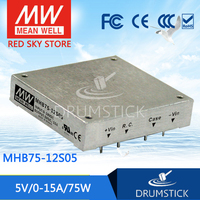 Hot sale MEAN WELL MHB75 12S05 5V 15A meanwell MHB75 5V 75W DC DC Half Brick Regulated Single Output Converter