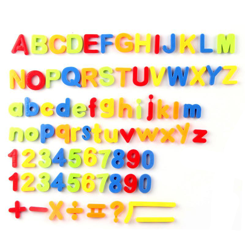 Magnetic English Letters Upper Case & Lower Case, Numbers, 7 Math Signs ,Magnetic Stickers, Fridge Stickers, 80pcs