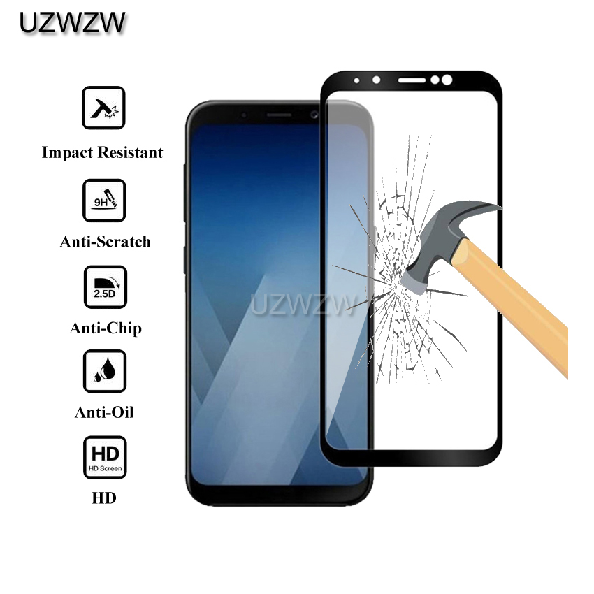 2pcs Full Cover Tempered Glass For Samsung Galaxy A8 2018 / A8 Plus 2018 Screen Protective Glass For Samsung A8 A8 Plus