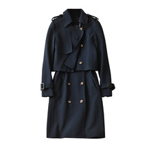 top quality 2016 new ladies's trench coat autumn winter trend runway England fashion basic outsized lengthy trench coat outfit
