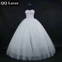 QQ Lover 2019 Ball Gown Bandage Wedding Dress Sweetheart Lace Pearls Sequins Bridal Wedding Gown Q2604