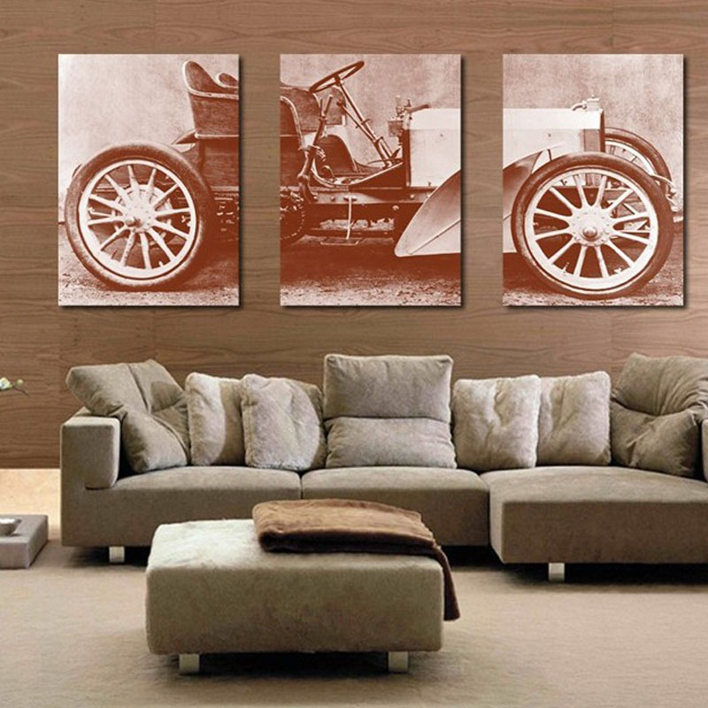 Unframed 3 Pieces Vintage Ancient Car Printed On Canvas Painting Retro Nostalgic  Home Decor For Living Room Wall Art Picture In Painting U0026 Calligraphy From  ...