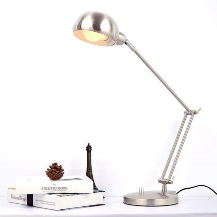 Black/Silver Modern Led Table Lamp with Adjustable Arm Eye protection Desk lamp E27 Edion Bulb for Reading Night light lamp 220V modern usb rechargeable led reading table lamps desk lamp for bedroom eye protection night light book light