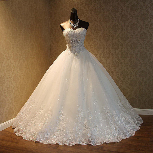 QQ Lover 2019 New Pearls Beaded Ball Gown Wedding Dress Luxury Bridal Gown Vestido De Noiva