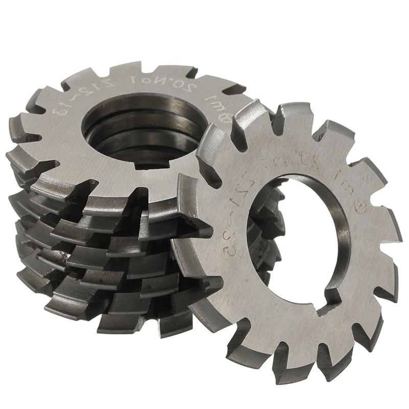 8pcs/set HSS Involute Gear Cutters Set M1 PA20 20 Degree Gear Cutters No 1-8 Assortment Kit  цены