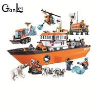 (GonLeI)10443 760pcs Urban Arctic Icebreaker Bela Building Block Compatible 60062